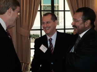 speaker Gary Shapiro (center) of the Consumer Electronics Association