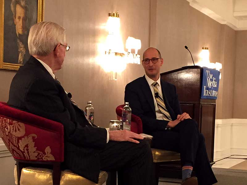 Christopher S. Ripley (left), president and CEO of Sinclair Broadcast Group, answers questions from Media Institute Chairman Dick Wiley about Sinclair's $3.9-billion acquisition of Tribune Media and the impacts on Sinclair's program content and news operations. The discussion took place at a Communications Forum luncheon at the St. Regis Hotel in Washington on June 20.